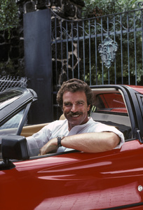 """Magnum, P.I.""Tom Selleck in a 1980 Ferrari 308 GTS1981 © 1981 Gene Trindl - Image 5412_0078"