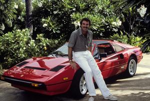 """Magnum, P.I.""Tom Selleck and his Ferrari 308 GTS I Quattrovalvole1985© 1985 Gene Trindl - Image 5412_9"