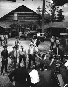"""Bonanza"" Pernell Roberts, Michael Landon, Lorne Greene, Dan Blocker circa 1960 Photo by Joe Shere - Image 5424_67"