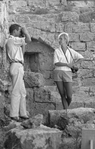 "Paul Newman and Joanne Woodward on location in Israel during the making of ""Exodus""1960 United Artists © 1978 Leo Fuchs - Image 5505_0018"