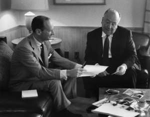 """North by Northwest""Writer Ernest Lehman with director Alfred Hitchcock1959 MGM © 1978 Lou Jacobs Jr. - Image 5667_0028"