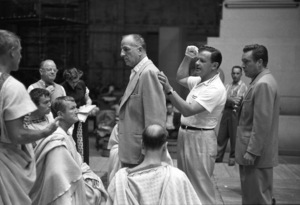 """Julius Caesar"" James Mason, Louis Calhern, director Joseph L. Mankiewicz, Edmond O"