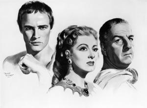 "Morr Kusnet artwork of Marlon Brando, Greer Garson and Louis Calhern as they appear in ""Julius Caesar""1953 MGM** I.V. - Image 5692_0059"