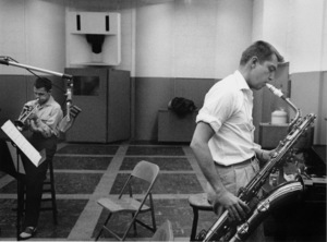 Chet Baker and Bud Shank at a recording session, 1953. © 1978 Bob Willoughby / MPTV - Image 5704_101