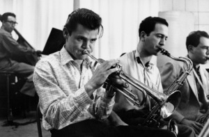 Chet Baker with Joe Mondragon (bass), Jack Montrose (sax), and Herb Geller (sax) at a recording session, Los Angeles, CA, 1954. © 1978 Bob Willoughby / MPTV - Image 5704_203