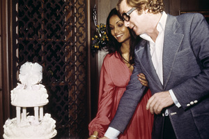 Michael Caine and his wife Shakira on their wedding day 1973 © 1978 Gene Trindl - Image 5705_0137