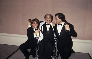 "Tom Cruise with Ron Kovic and Oliver Stone at ""The 47th Golden Globe Awards""1990© 1990 Gary Lewis - Image 5724_0099"