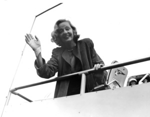 Tallulah Bankhead disembarking from a Pan Am flightC. 1950