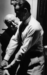 """""""Marnie""""Sean Connery and director Alfred Hitchcock wrestle1964 © 1978 Bob Willoughby - Image 5733_0041"""