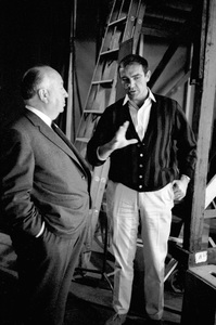 """Director Alfred Hitchcock and Sean Connery during the filming of """"Marnie""""1964 Universal Pictures © 1978 Bob Willoughby - Image 5733_0059"""