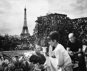 """Paris When It Sizzles"" William Holden, Audrey Hepburn, director Richard Quine 1964 Paramount Pictures Photo by Mel Traxel"