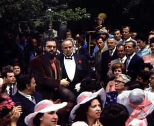 """The Godfather"" Marlon Brando, director Francis Ford Coppola and Alfonso Acierno (bottom left) 1971 Paramount ** I.V. - Image 5746_0066"
