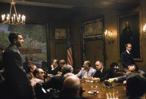 """The Godfather""Marlon Brando and Robert Duvall in the famous Boardroom Mafia scene1972 Paramount**I.V. - Image 5746_0079"