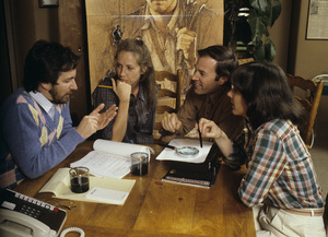 """Steven Spielberg with Melissa Mathison, Frank Marshall and Kathleen Kennedy prepping for """"E.T.: The Extra-Terrestrial"""" 1982© 1982 Bruce McBroom - Image 5817_0061"""