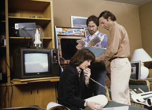 Steven Spielberg in his office on the MGM lot with Kathleen Kennedy and Frank Marshall1982© 1982 Bruce McBroom - Image 5817_0069