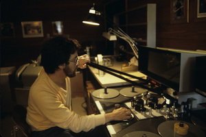 "Steven Spielberg editing ""Poltergeist"" 1982© 1982 Bruce McBroom - Image 5817_0085"