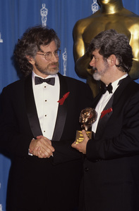 "Steven Spielberg and George Lucas with his Irving G. Thalberg Memorial Award at ""The Academy Awards""1992© 1992 Gary Lewis - Image 5817_0101"