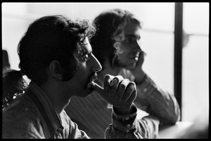 Frank Zappa (foreground) and Ian Underwood of The Mothers of Invention prior to a performance in Fall River, Massachusetts 18 February 1968© 2020 Ed Lefkowicz - Image 5872_0050