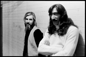 """John Leon """"Bunk"""" Garder (left) and Jimmy Carl Black of The Mothers of Invention prior to a performance in Fall River, Massachusetts 18 February 1968© 2020 Ed Lefkowicz - Image 5872_0051"""