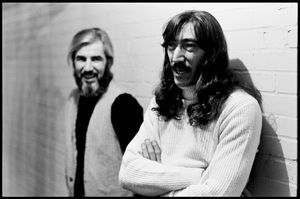 """John Leon """"Bunk"""" Garder (left) and Jimmy Carl Black of The Mothers of Invention prior to a performance in Fall River, Massachusetts 18 February 1968© 2020 Ed Lefkowicz - Image 5872_0052"""