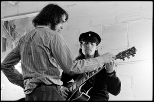 """Ian Underwood and Jim """"Motorhead"""" Sherwood of The Mothers of Invention prior to a performance in Fall River, Massachusetts 18 February 1968© 2020 Ed Lefkowicz - Image 5872_0063"""