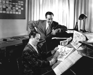 """Walt Disney with Ward Kimballworking on the animation and character design for """"Alice in Wonderland""""c. 1949 - Image 5975_0057"""
