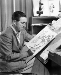 "Walt Disney with a sketch of Mickey Mouse as he appeared in the animated short ""Steamboat Willie""circa 1940s ** I.V. - Image 5975_0073"