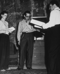 """Key Largo""Lauren Bacall, Humphrey Bogart, and Edward G. Robinson1948 Warner Bros.Photo by Mac JulianMPTV - Image 6037_0013"