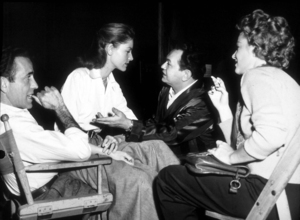 """Key Largo""Humphrey Bogart and Claire Trevor watching Lauren Bacall and Edward G. Robinson rehearsing a love scene1948 Warner Bros.MPTV - Image 6037_0026"