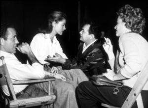 """Key Largo""Humphrey Bogart and Claire Trevor watching Lauren Bacall and Edward G. Robinson rehearsing a love scene1948 Warner Bros.MPTV - Image 6037_0026"