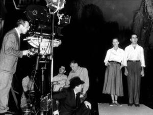 """Key Largo""Director John Huston, Lauren Bacall, and Humphrey Bogart 1948 Warner Bros.Photo by Mac Julian - Image 6037_0027"