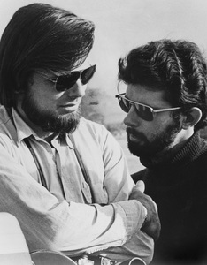 """""""American Graffiti""""Co-producer Gary Kurtz, director George Lucas1973 Universal Pictures - Image 6199_0061"""