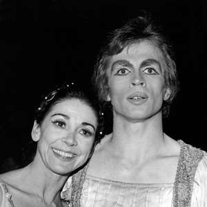 Rudolf Nureyev and Dame Margot Fonteyn backstage following the opening night performance of the company