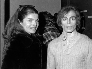 "Rudolf Nureyev being visited by Jacqueline Kennedy Onassis backstage after his performance in ""Don Quixote"" with the Australian Ballet1971 - Image 6629_0007"
