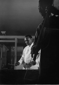 Lionel Hampton and Bob Johnson (bass) rehearsing in a small union hall, circa 1950. © 1978 Bob Willoughby / MPTV - Image 6637_101