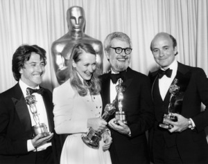 "Dustin Hoffman, Meryl Streep, director Robert Benton and producer Stanley R. Jaffe backstage at ""The 52nd Annual Academy Awards"" at the Dorothy Chandler Pavilion (all winners for ""Kramer vs. Kramer"") April 14, 1980 ** B.D.M."