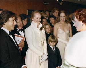 "Dustin Hoffman, Meryl Streep, Justin Henry, Liv Ullmann and Queen Elizabeth II attending the Royal Command Performance of ""Kramer vs. Kramer"" March 17, 1980** B.D.M. - Image 6696_0032"