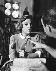 """""""The Glenn Miller Story""""June Allyson, Dir. Anthony Mann on the set1953 © 1978 Ampas / Sanford Roth - Image 6814_0007"""