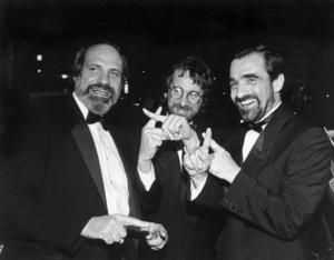 "Brian De Palma, Steven Spielberg and Martin Scorsese at the ""Yentl"" premiere 1983 ** I.V. - Image 7001_0008"
