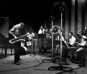 Gerry Mulligan at a recording session, Los Angeles, CA, 1953. © 1978 Bob Willoughby / MPTV - Image 7254_104
