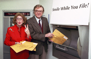 Steve Allen and wife Jayne Meadows mailing their tax forms early at a San Fernando Post Office 1999 © 1999 Michael Jones - Image 7325_0066