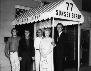 "Roger Smith with his mother, father, brother and Edd ""Kookie"" Byrnes on the set of ""77 Sunset Strip""circa 1960s© 1978 Joe Shere - Image 7345_0008"