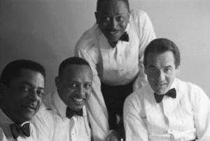 "Teddy Wilson, Lionel Hampton, Sammy Davis Sr. and Gene Krupa during the making of ""The Benny Goodman Story""1956© 1978 Bernie Abramson - Image 7427_0017"