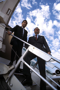 William Barron Hilton with Kirk Kerkorian arriving in Kerkorian