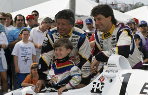 Michael Andretti and his son Marco with dad Mario at the Long Beach Grand Prix in Long Beach, CA1992 © 1992 Ron Avery - Image 7571_0013