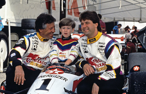 Michael Andretti and his son Marco with dad Mario at the Long Beach Grand Prix in Long Beach, CA1992 © 1992 Ron Avery - Image 7571_0014