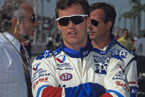 Al Unser Jr. in the pits with Danny Sullivan at the Long Beach Grand Prix in Long Beach, CA1992 © 1992 Ron Avery - Image 7576_0015