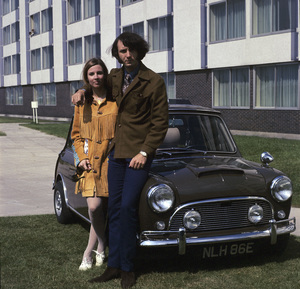 """""""The Monkees""""Michael Nesmith and his 1275 Mini-Cooper Scirca 1965© 1978 Gene Trindl - Image 7671_0232"""
