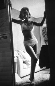 """Sandra Dee in her dressing roomon the set of """"Taker Her, She"""