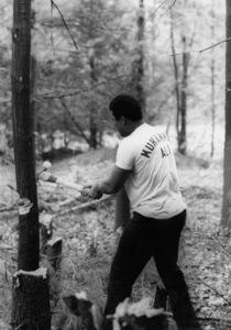 Muhammad Ali chopping trees at histraining camp, c. 1978. © 1978 Gunther - Image 7683_0329